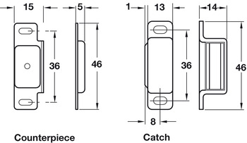 Magnetic Catch, Pull 6.0 kg, for Screw Fixing