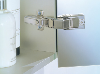 Mirror Door Hinge, 128°, for Double Sided Mirror Doors 3-8 mm, With or Without Spring, Mirro