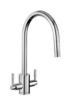 Mixer Tap, Dual Lever, Pull Out Spray, Rangemaster Aquatrend