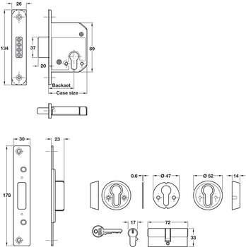 Mortice Deadlock, Security Cylinder, Steel and Zinc Alloy