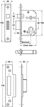 Mortice Sashlock, Lock Case Only, Steel and Zinc Alloy