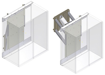Mounting Frame with Safety Stop Plate, for Diagonally Down/Forward Adjustable Wall Cupboards, Ropox