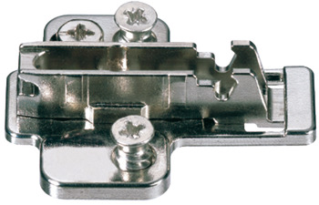 Mounting Plate, Cruciform Cam Adjusting, Pre-Mounted Euro Screw Fixing, for Grass Click On System Hinges, Nexis