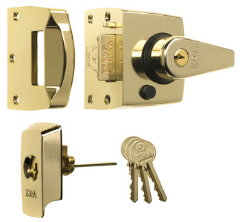 Nightlatch, High Security, BS 3621, Key from Outside, Key Lockable Lever Handle from Inside