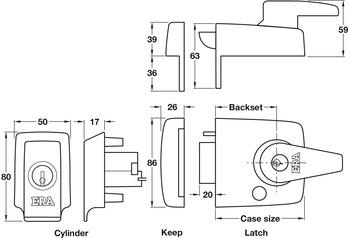 Nightlatch, Keyless Egress, BS 8621, Key from Outside, Lever from Inside