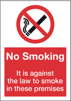 No Smoking Prohibition Sign, 148 x 210 mm, for Windows, Rigid Plastic