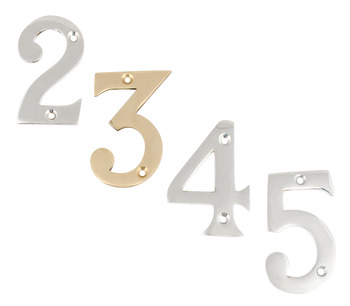 Numeral, 0-9, Face Fixing, 76 mm High, Zinc Alloy
