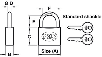 Padlock, Standard, 2 Point Locking, Brass