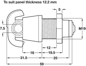 Padlockable Cam Lock, for 6.5, 12.2 or 19.2 mm Panels