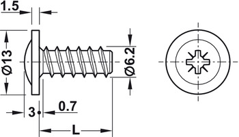 Panel Mounting Screw, Flat Head with PZ Cross Slot, Fully Threaded, for Ø 5 mm Drill Holes