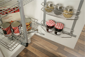 Pantry Unit, Pull and Swing, Chrome Linear Wire Baskets, Installed Height 1700-1950 mm, for Cabinet Width 500 mm