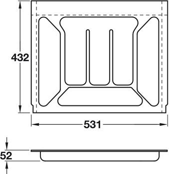 Plastic Cutlery Insert, Width 531 mm