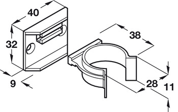 Plinth Clip and Bracket, for Adjustable Plinth Feet, Screw Fixing
