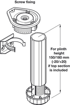 Plinth Foot Set, for 150 to 180 mm Plinth Heights, Screw Fixing