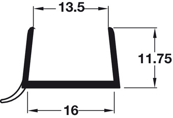 Plinth Sealing Strip, for 15-16 mm Thick Plinth Panels, 3025 mm Length