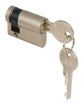 Profile Cylinder, Single, Key Only, One Side, with Anti-Drilling Protection, Brass