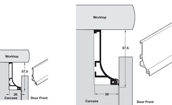 Profile Handle, for Horizontal Fixing under Worktops, Gola System B