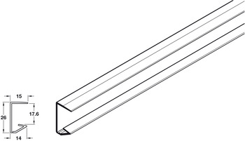 Profile, Length 4100 mm, for 18 mm Thick Wooden Shelves