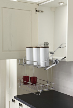 Pull Down Basket Shelves, Two Tier Chrome Wire, Gas Spring Operated, for Cabinet Width 500 or 600 mm