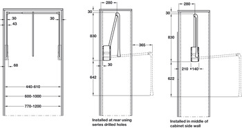 Pull Down Wardrobe Rail, for Internal Wardrobe Width 440-1200 mm, 2004