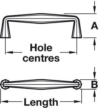 Pull Handle , Brass, Length 144 mm, Fixing Centres 128 mm, Burbridge