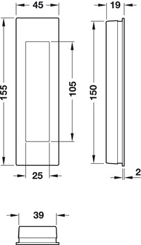 Grade 304 Stainless Steel HAFELE FSB 4251 Flush pull handle Closed Open