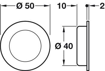 Pull Handle, Flush, Ø 50 mm, Stainless Steel, Startec