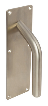 Pull Handle, on Backplate, Anti-Ligature, Solid Stainless Steel