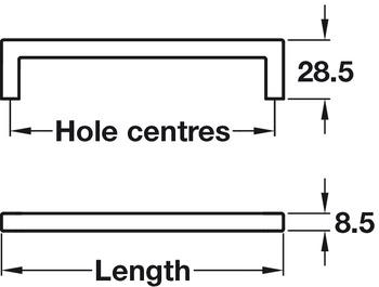 Pull Handle, Zinc Alloy, Fixing Centres 128-492 mm, U