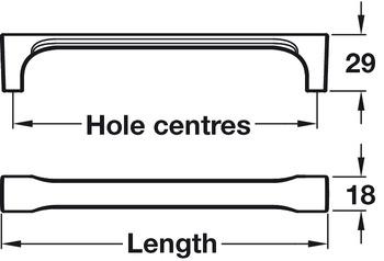 Pull Handle, Zinc Alloy, Fixing Centres 160-320 mm, Colibri