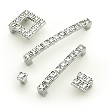 Pull Handle, Zinc Alloy, Fixing Centres 32 mm, Crystal