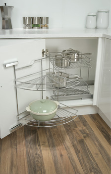 Pull Out and Swing Corner Unit, Chrome Wire, for Cabinet Width 800-1000 mm, Eko Easy