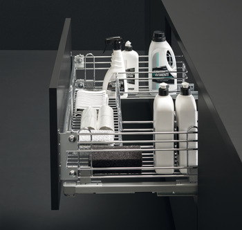 Pull Out Basket Set, Undersink, Chrome Wire, for Cabinet Width 800-1000 mm, Soft Closing