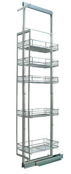 Pull Out Larder Unit, Chrome Linear Wire Baskets, Centre Mounting, Installed Height 1690-2090 mm, for Cabinet Width 300 mm