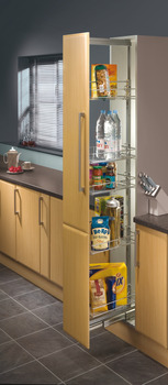 Pull Out Larder Unit, Chrome Linear Wire Baskets, Centre Mounting, Installed Height 1700-2200 mm, for Cabinet Widths 300-400 mm