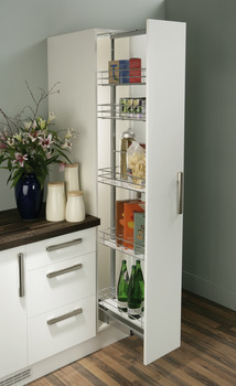 Pull Out Larder Unit, Chrome Linear Wire Baskets, Centre Mounting, Soft Closing