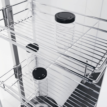 Pull Out Larder Unit, Classic Chrome Linear Wire Baskets, Centre Mounting, Soft Closing, Height Adjustable, Vauth-Sagel VS TAL Larder