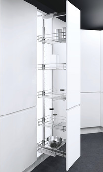 Pull Out Larder Unit, Classic Chrome Linear Wire Baskets, VS TAL Larder