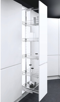 Pull Out Larder Unit, Classic Silver Linear Wire Baskets, VS TAL Larder