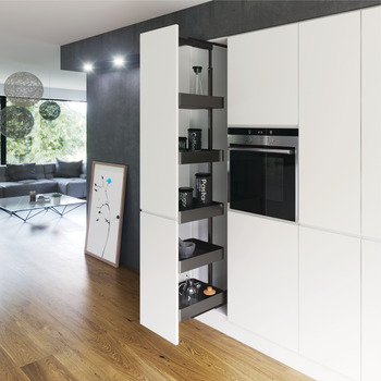 Pull Out Larder Unit, Planero Lava Grey Baskets, Centre Mounting, Soft Closing, Height Adjustable, Vauth-Sagel VS TAL Larder