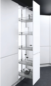 Pull Out Larder Unit, Premea Grey Solid Base Wire Baskets, VS TAL Larder