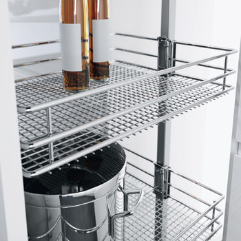 Pull Out Larder Unit, Saphir Mesh Chrome Wire Baskets, Centre Mounting, Soft Closing, Height Adjustable, Vauth-Sagel VS TAL Larder