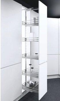Pull Out Larder Unit, Saphir Mesh Chrome Wire Baskets, VS TAL Larder