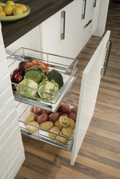 Pull Out Storage Basket Set, Chrome Linear Wire Baskets, for Cabinet Widths 300-600 mm, Soft Closing
