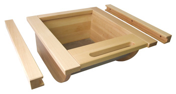 Pull Out Storage Basket, Wood with Stainless Steel Base, for Vegetables