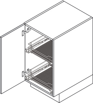 Pull Out Storage Baskets, with Chrome Wire Mesh Baskets, for Door Front Fixing Cabinets, Vauth-Sagel VS SUB Basket