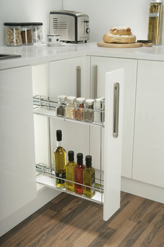 Pull Out Storage Unit, Chrome Linear Wire Baskets, for Min. Cabinet Width 150 mm, Soft Closing