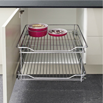 Pull Out Storage Unit, Two Tier, Chrome Linear Wire Basket, for Cabinet Widths 200-400 mm