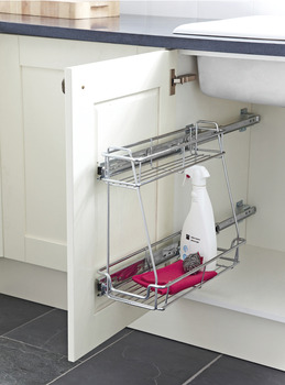 Pull Out Storage Unit, Two Tier, Chrome Mesh Wire Basket, for Min. Cabinet Width 300 mm