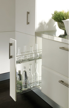 Pull Out Storage Unit, Two Tier, for Cabinet Width 150 mm, Dynamic Soft Closing Runners